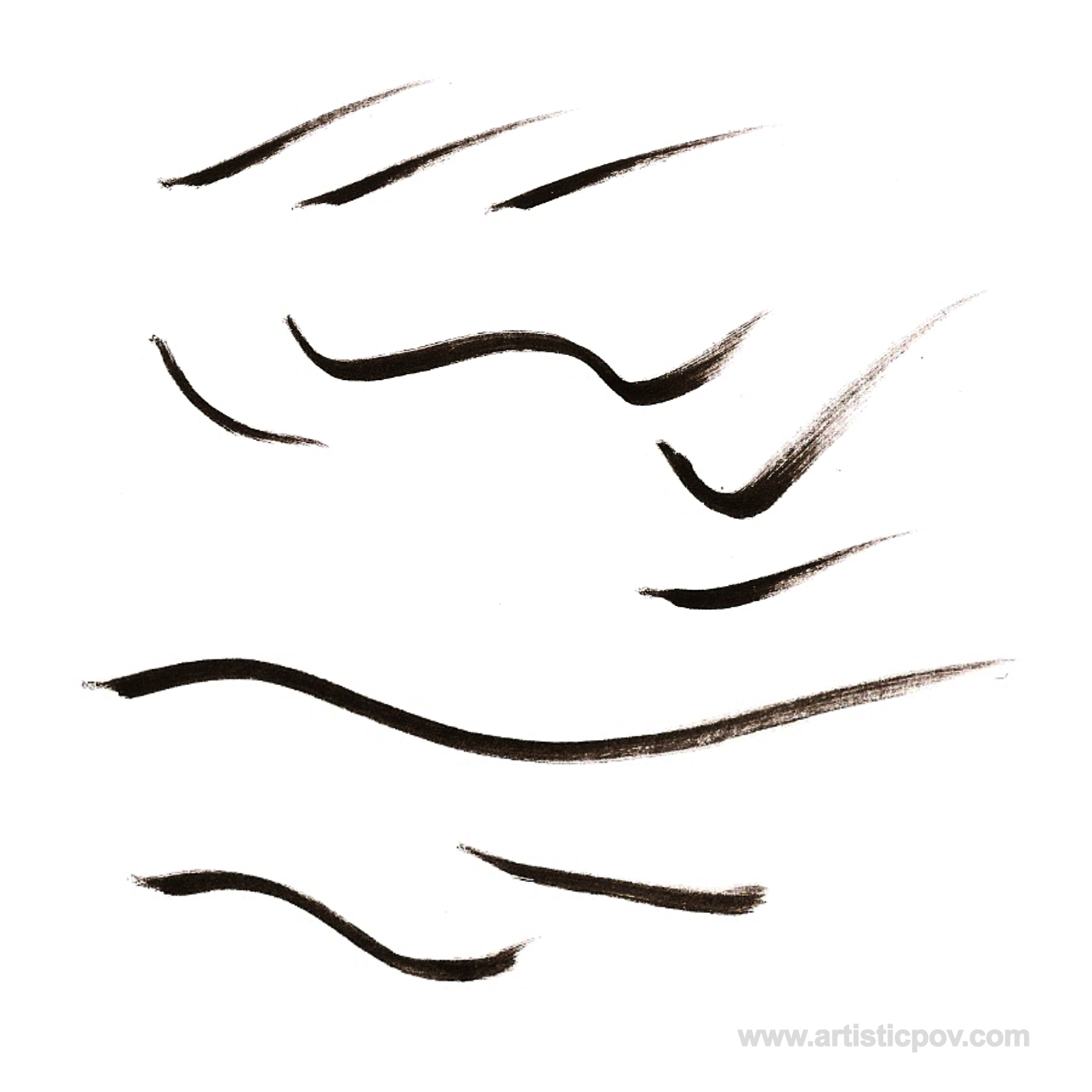 4 Copic Multiliner Brush Strokes